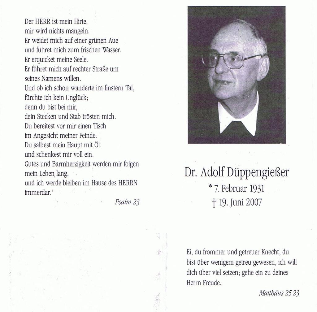 Totenzettel Düppengiesser, Adolf † 19.06.2007