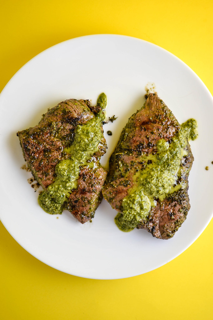 Grilled Steak with Carrot Top Chimichurri Sauce | Things I Made Today