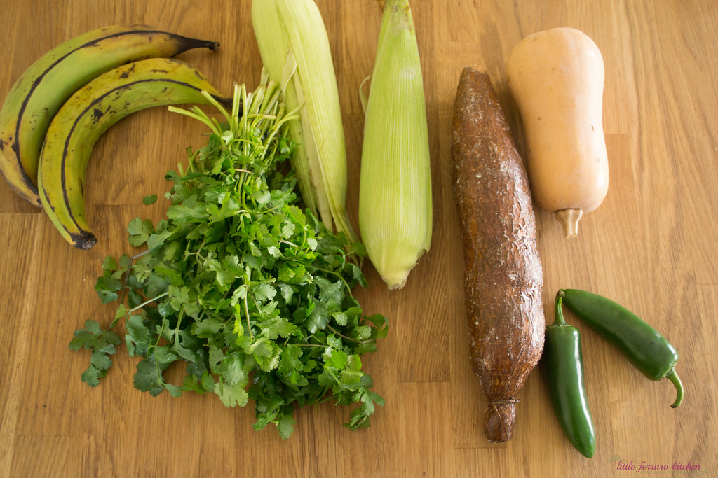 Sancocho recipe begins with different vegetables and roots, including plantains, cornm yucca and sweet potato.