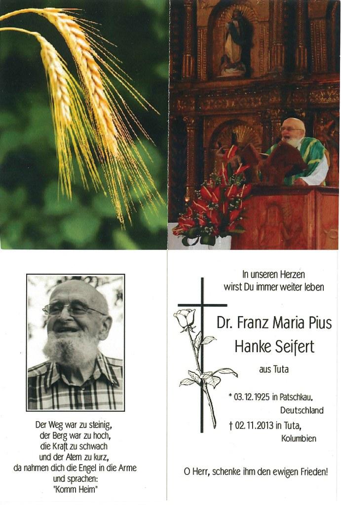 Totenzettel Hanke, Franz Maria Pius † 02.11.2013