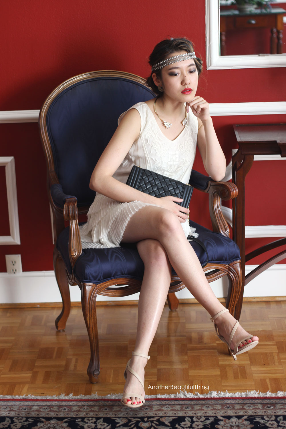 White flapper dress for Gatsby 1920's party