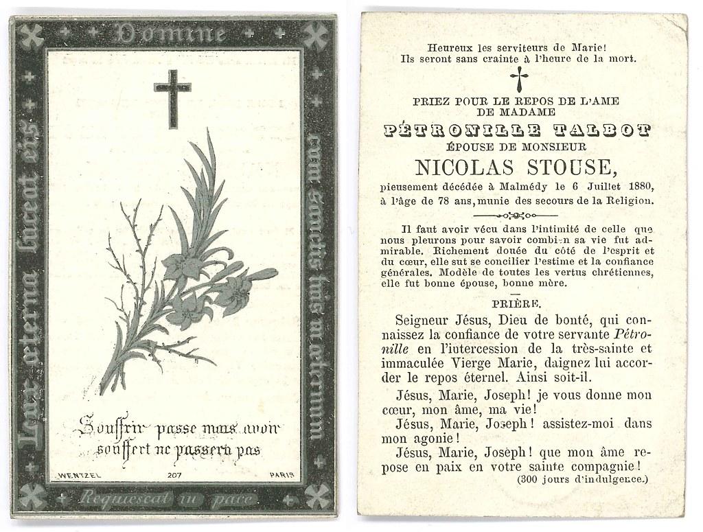 Totenzettel Stouse, Nicolas † 06.07.1880