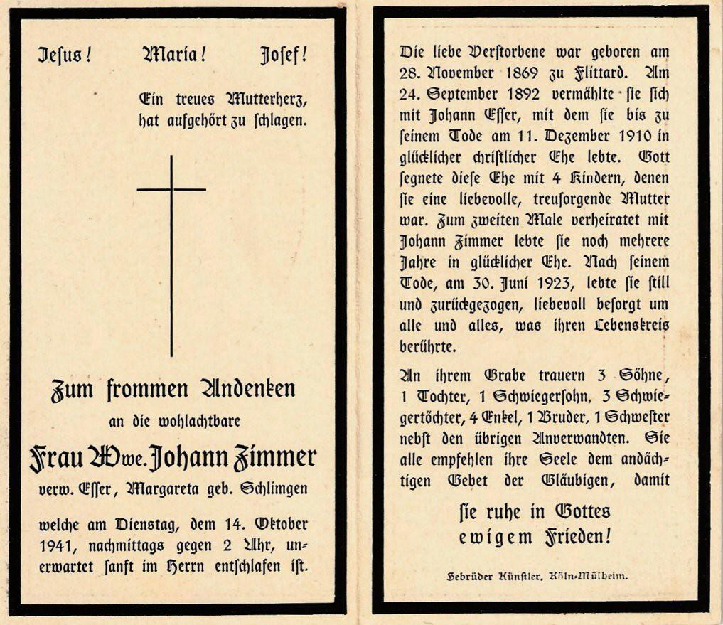Totenzettel Schlimmgen, Margareta † 14.10.1941
