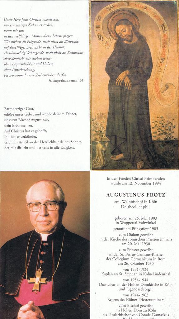 Totenzettel Frotz, Augustinus † 12.11.1994