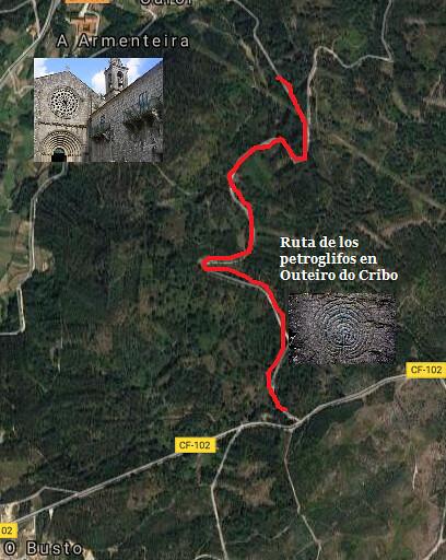 Mapa de situación de los petroglifos de Outeiro do Cribo