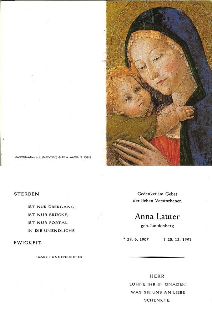 Totenzettel Lauter, Anna † 25.12.1991