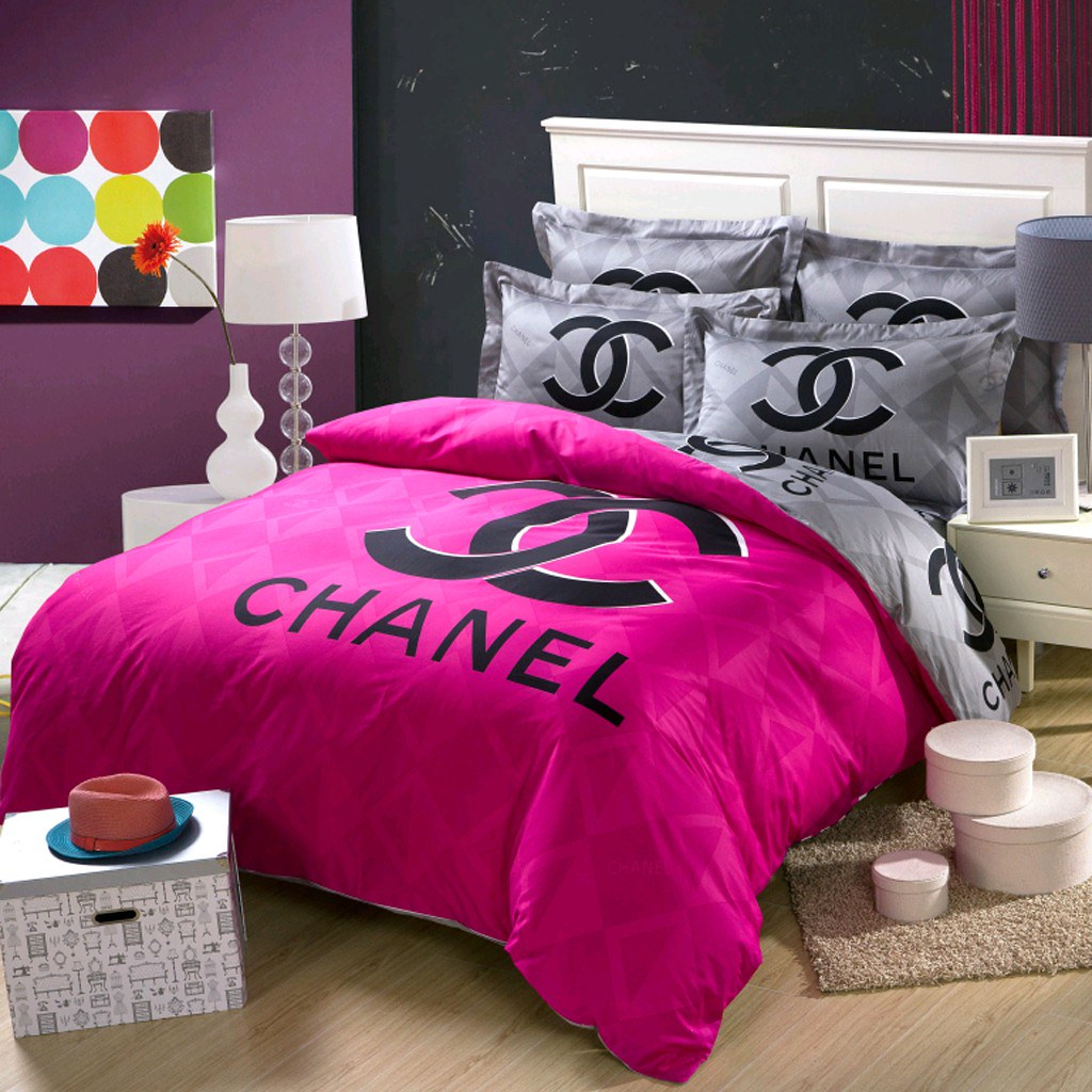 Chanel Bed Set Ch 05 Chanel Bedding Set 4 Piece Pink