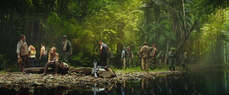 Jungle scene with the cast