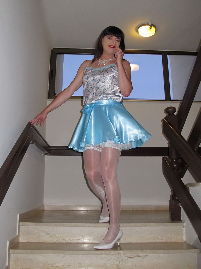 Satin miniskirt and stockings | It is pretty hot here on ...