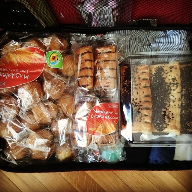 Suitcase full of Spanish pastries