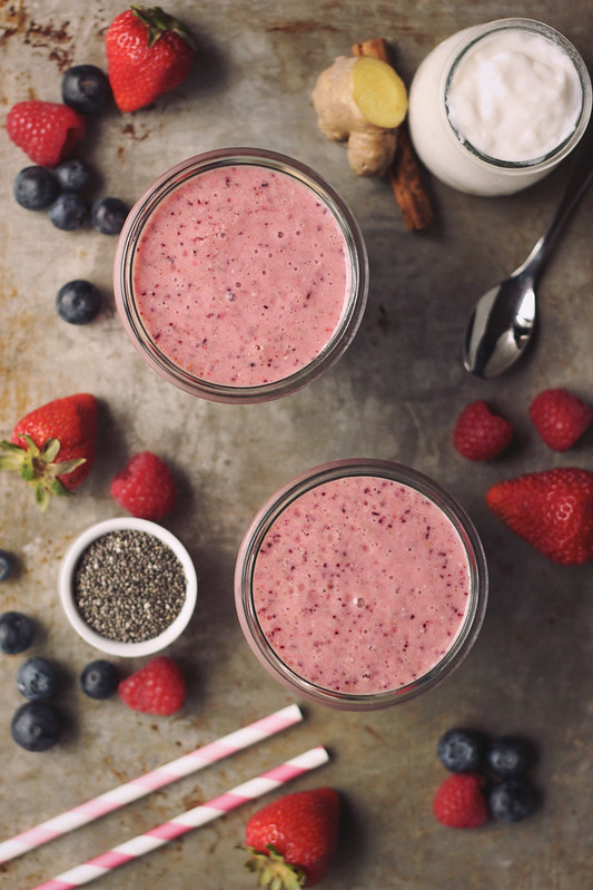 Summer Berry Probiotic Smoothie