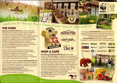 Brochure Elephant PooPooPaper Park Chiang Mai Thailand 2