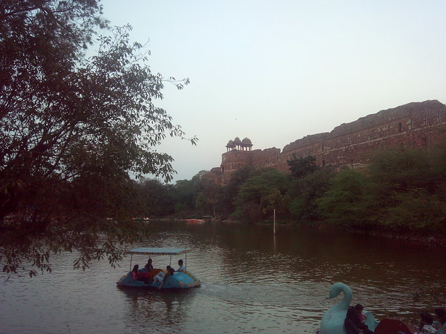 Boating in lake outside Purana Qila
