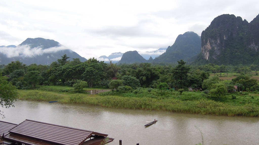 View from silver naga hotel vang vieng laos the nam for Domon river guesthouse vang vieng