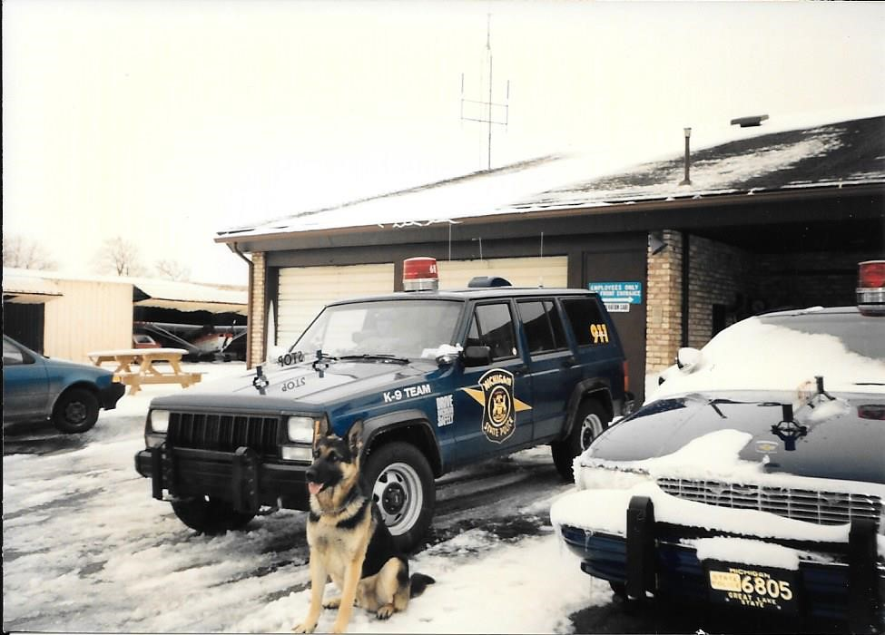 Michigan State Police K9 Jeep Cherokee And Dog Taken At