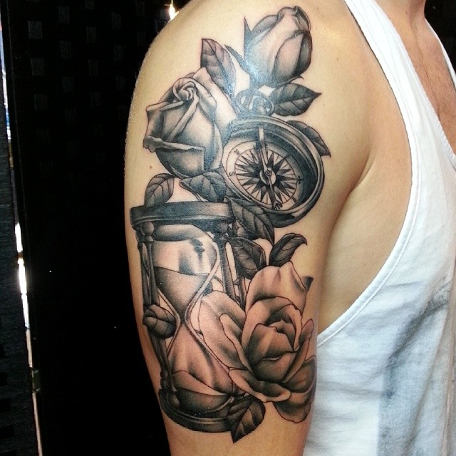 legacyink tattoo blackandgrey rose compass hourglass
