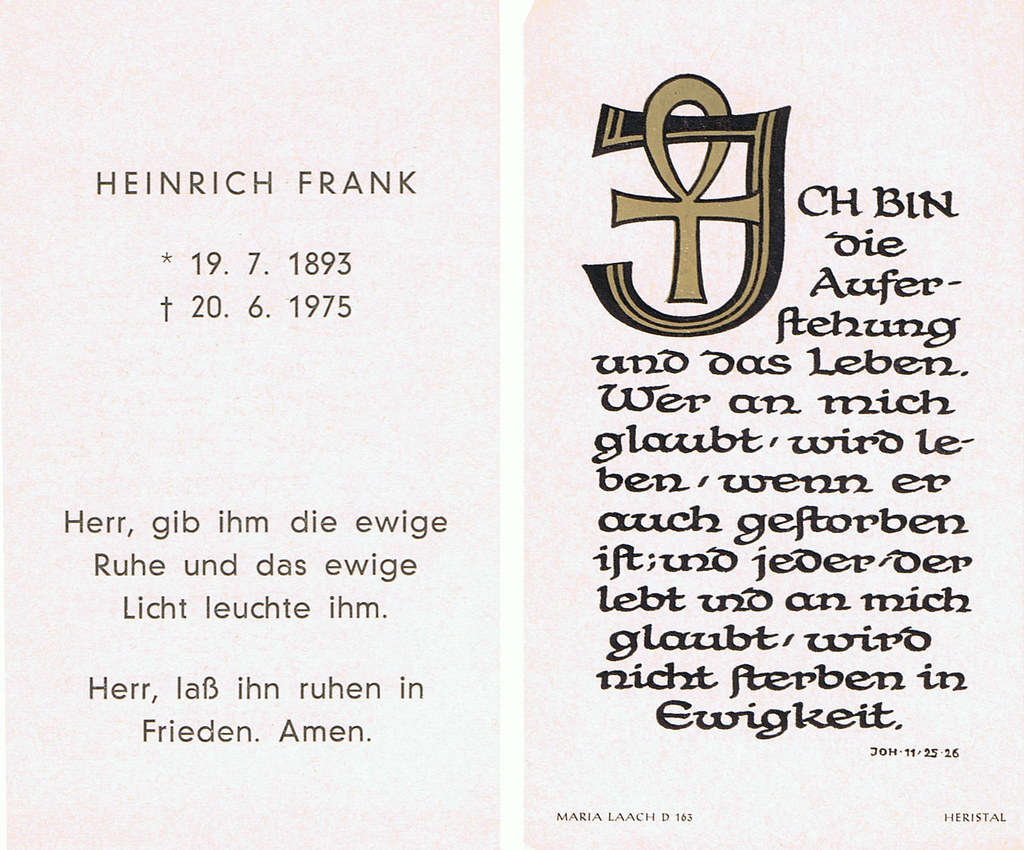 Totenzettel Frank, Heinrich † 20.06.1975