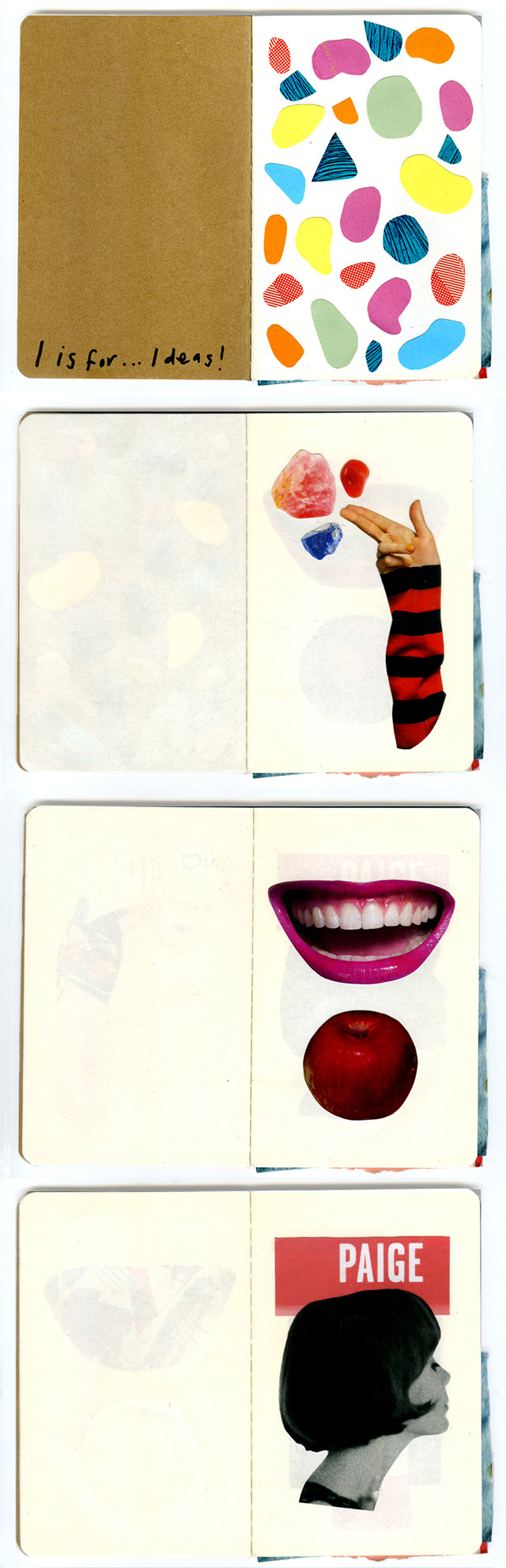 collage sketchbook pages 1-4 by laura redburn