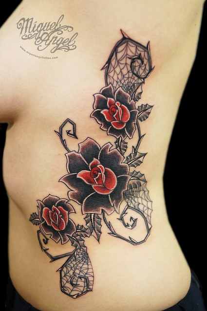 custom roses and thorns tim burton style tattoo flickr photo sharing. Black Bedroom Furniture Sets. Home Design Ideas