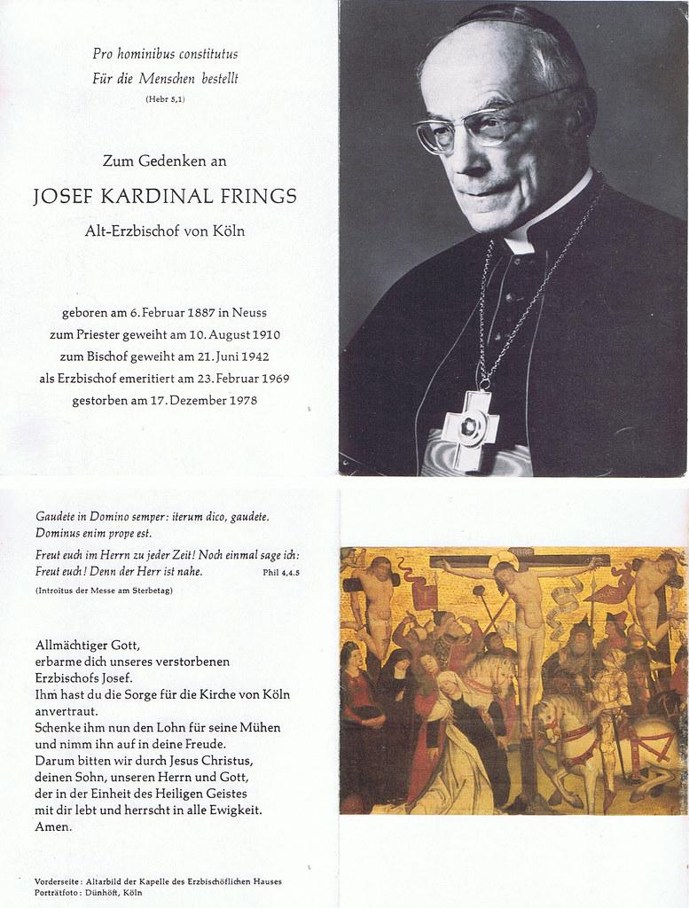Totenzettel Frings, Josef Kardinal † 17.12.1978