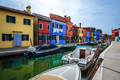 The colorful houses at Burano Island, Venice, Italy