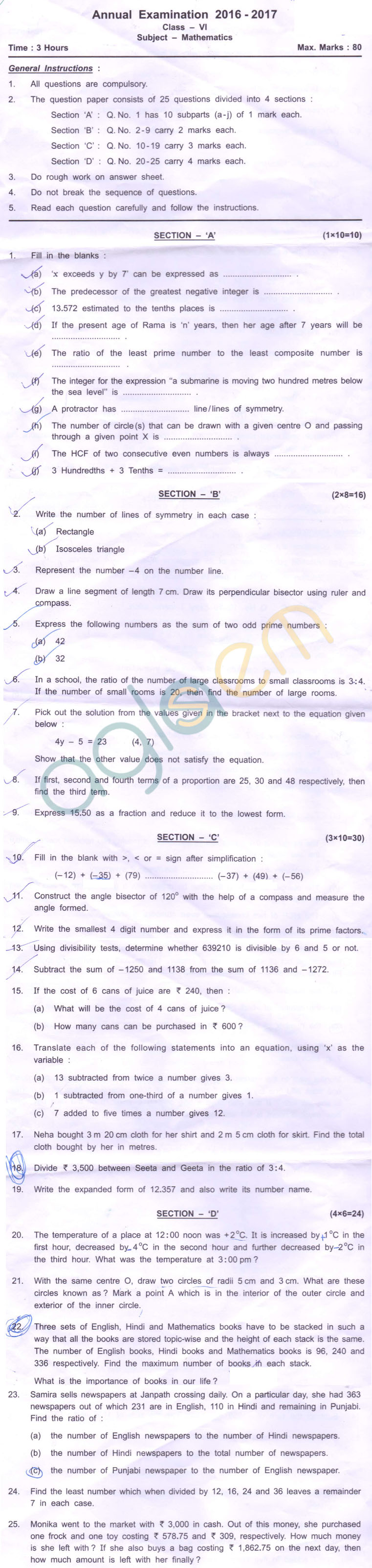 CBSE Class 6 SA2 Question Paper for Math – AglaSem Schools