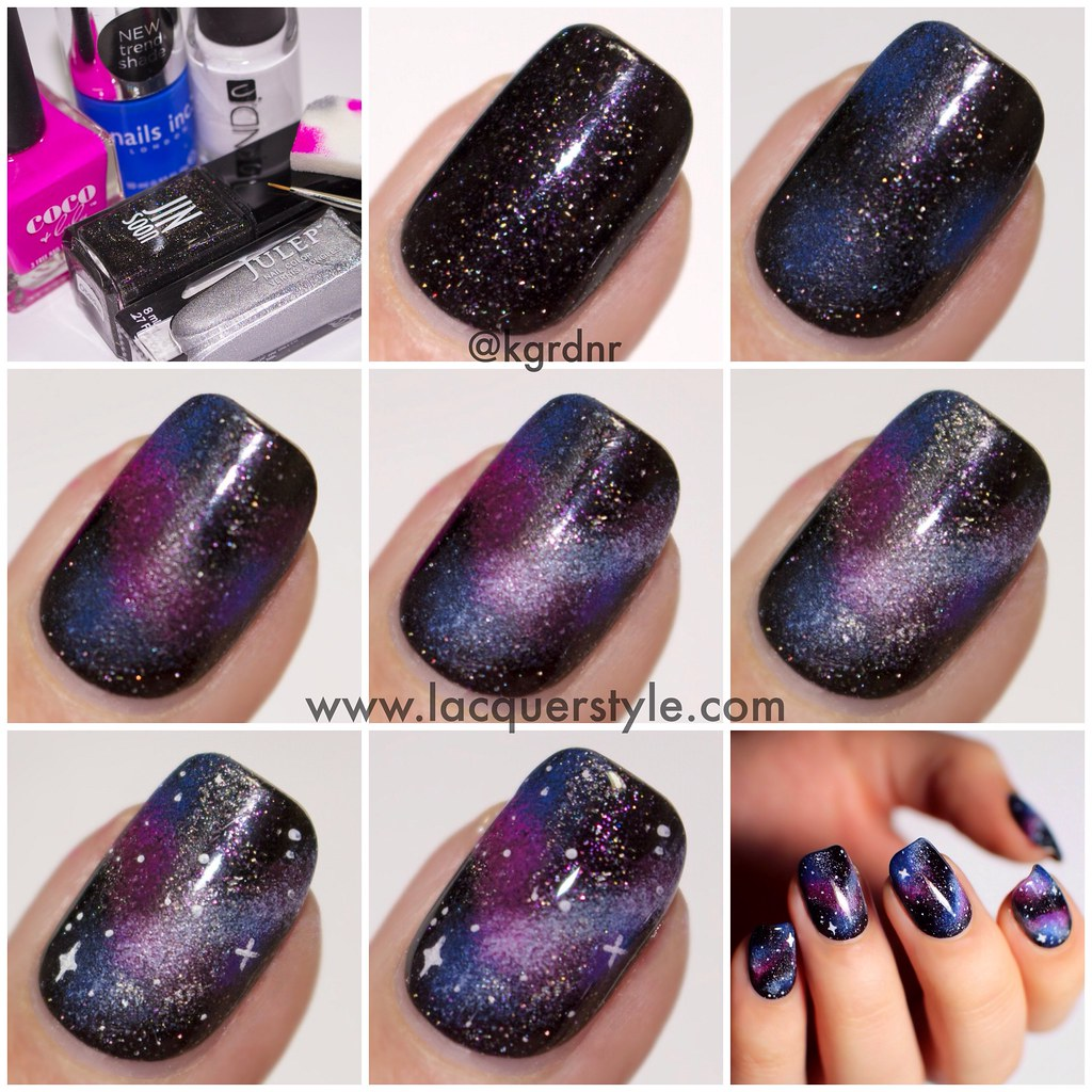 Simple Constellation Nail Art: Galaxy-Nails-Tutorial-Simple-Realistic