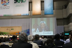 COP10主席松本龍,主持星期五晚上大會議程及閉幕大會。潘紀揚攝。