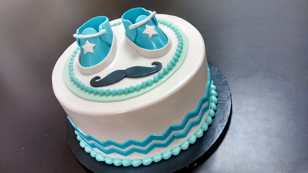 Baby Shoes And Mustache Baby Shower Cake | *Available In Youu2026 | Flickr
