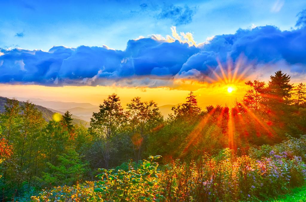 Blue Ridge Parkway Late Summer Appalachian Mountains Sunse