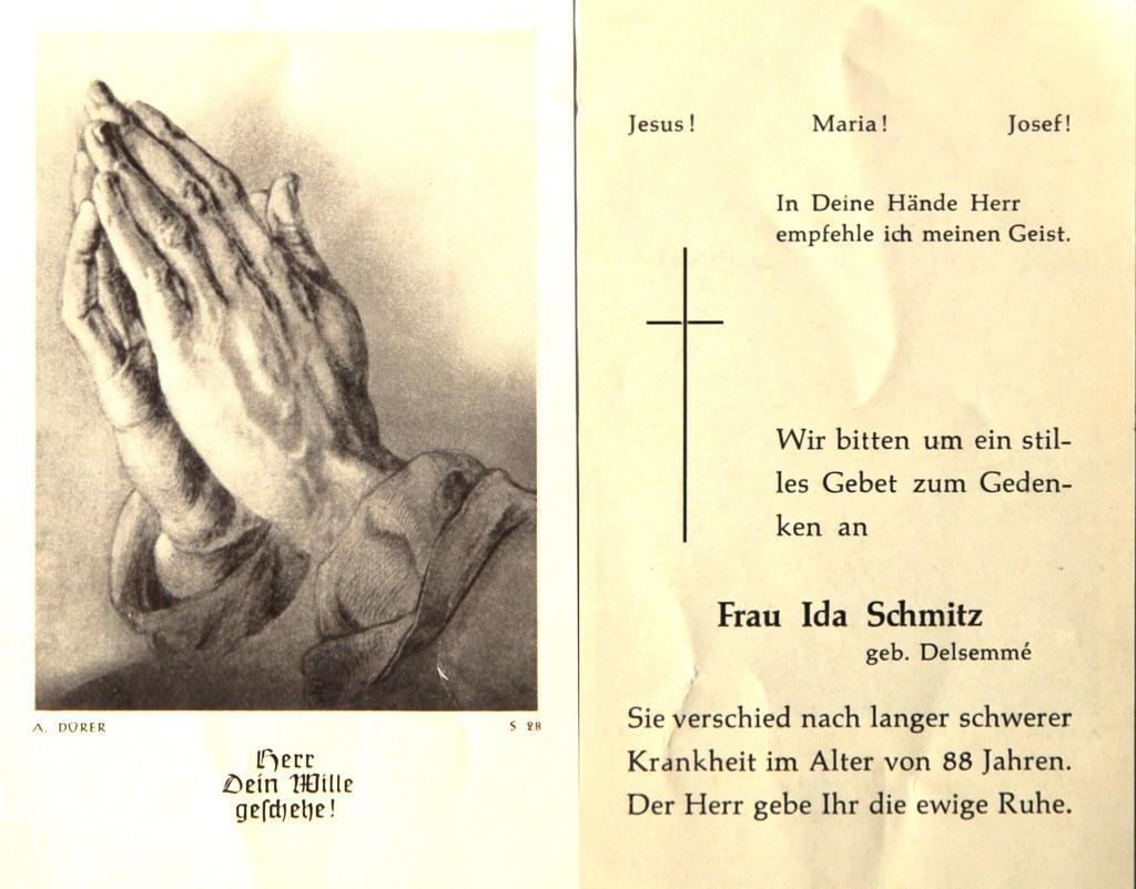 Totenzettel Schmitz, Ida † 01.02.1983