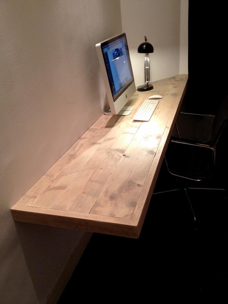 Bureau Floating Desk Steigerhout Te Koop Bij W00tdes