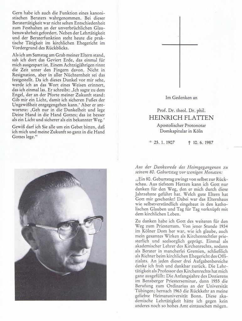 Totenzettel Flatten, Heinrich † 10.06.1987