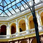 Yellow atrium courtyard in Quito, Ecuador