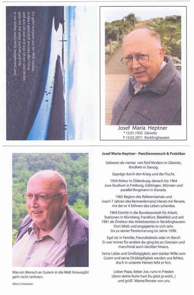 Totenzettel Heptner, Joseph † 13.02.2011