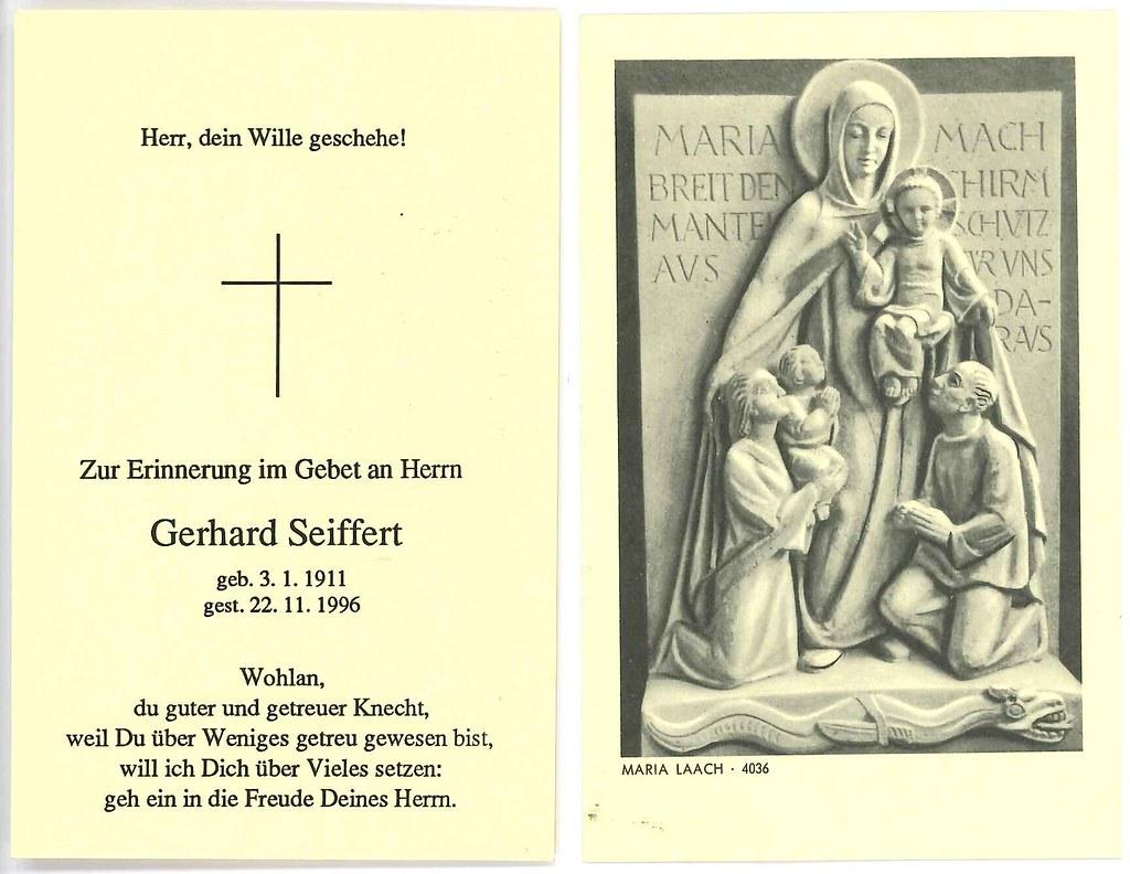 Totenzettel Seiffert, Gerhard † 22.11.1996