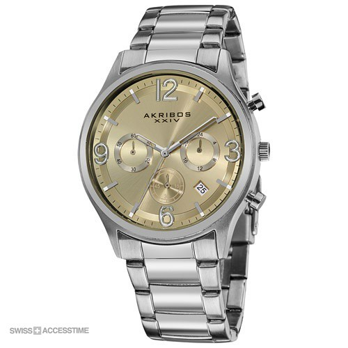 Akribos mens chronograph gradient dial stainless steel bra flickr for Gradient dial watch