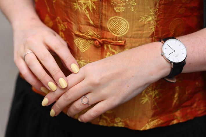 outfit: mustard silk cheongsam top, diamanti per tutti rings, daniel wellington watch, dior sunwashed nail polish