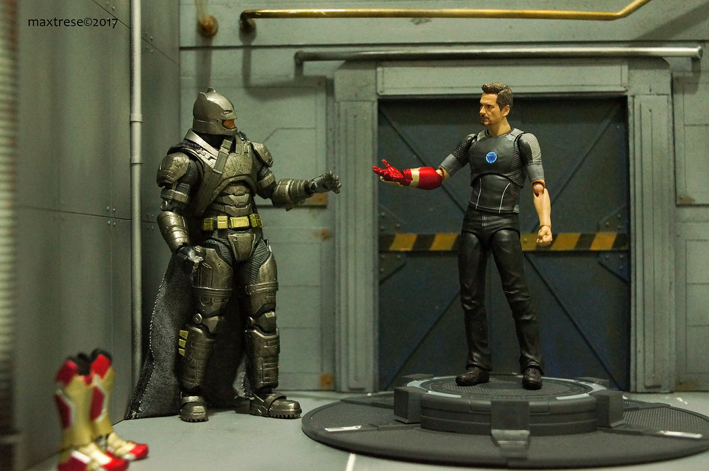 Mafex Armored Batman and SHF Tony Stark
