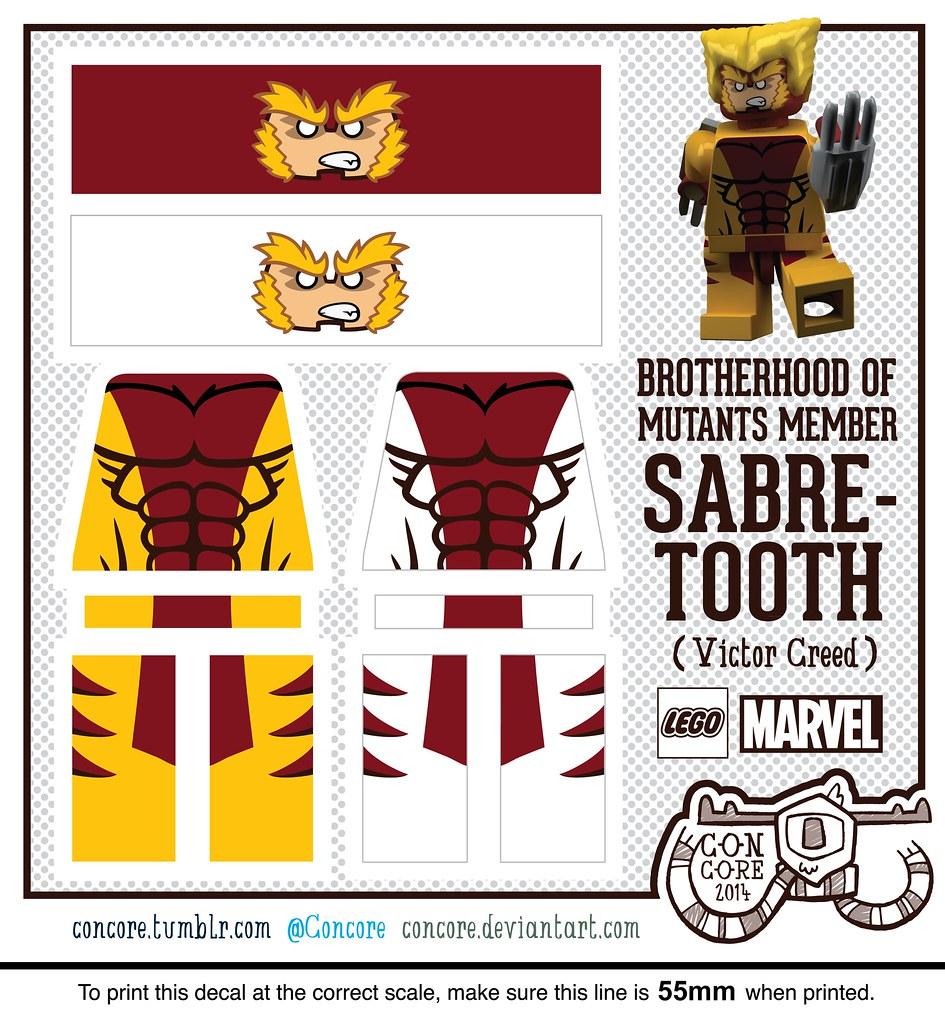 MARVELu0026#39;s Sabretooth - Custom LEGO Minifigure Decal : Flickr