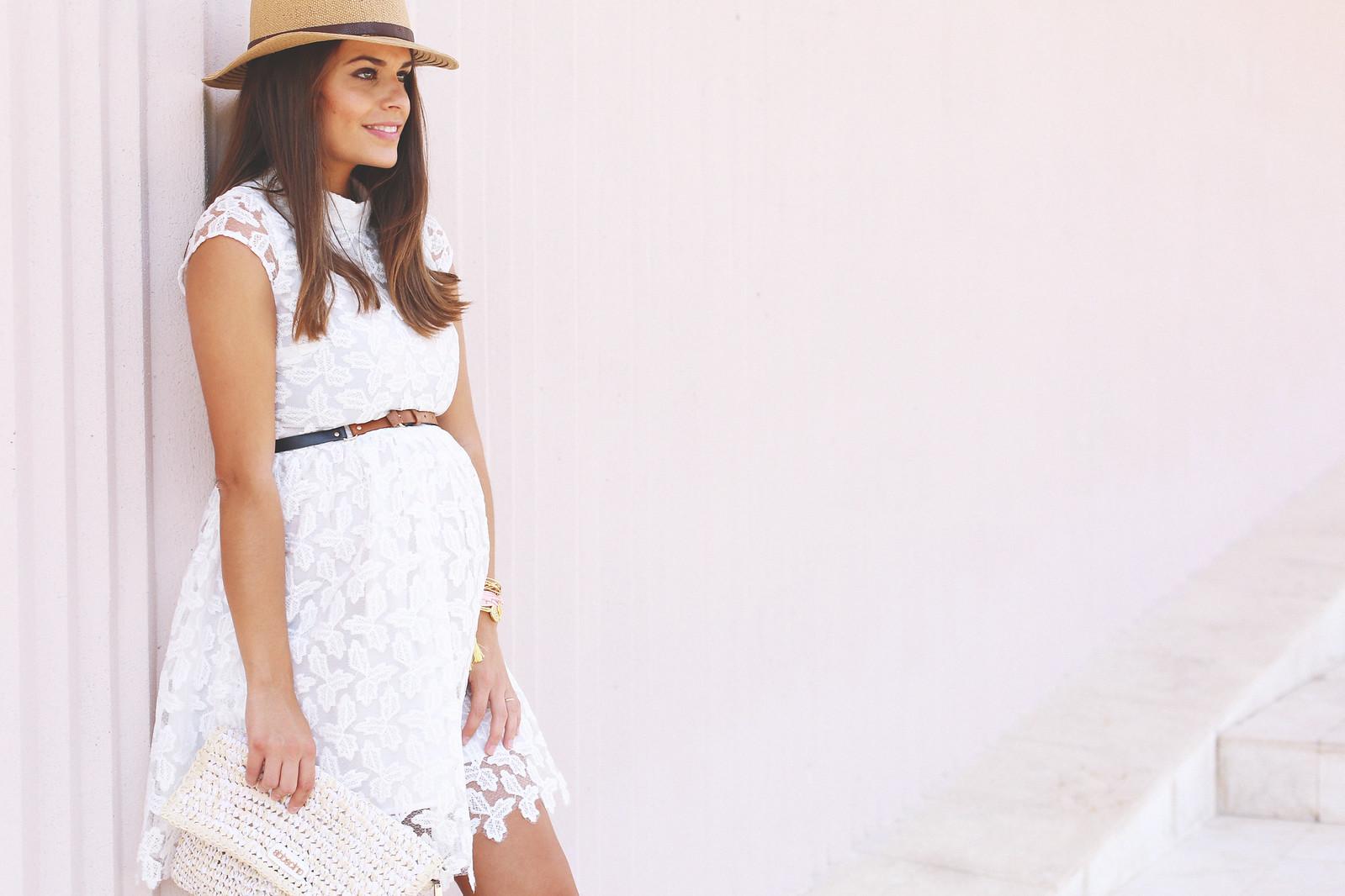 4. lace white short dress - jessie chanes - pregnancy