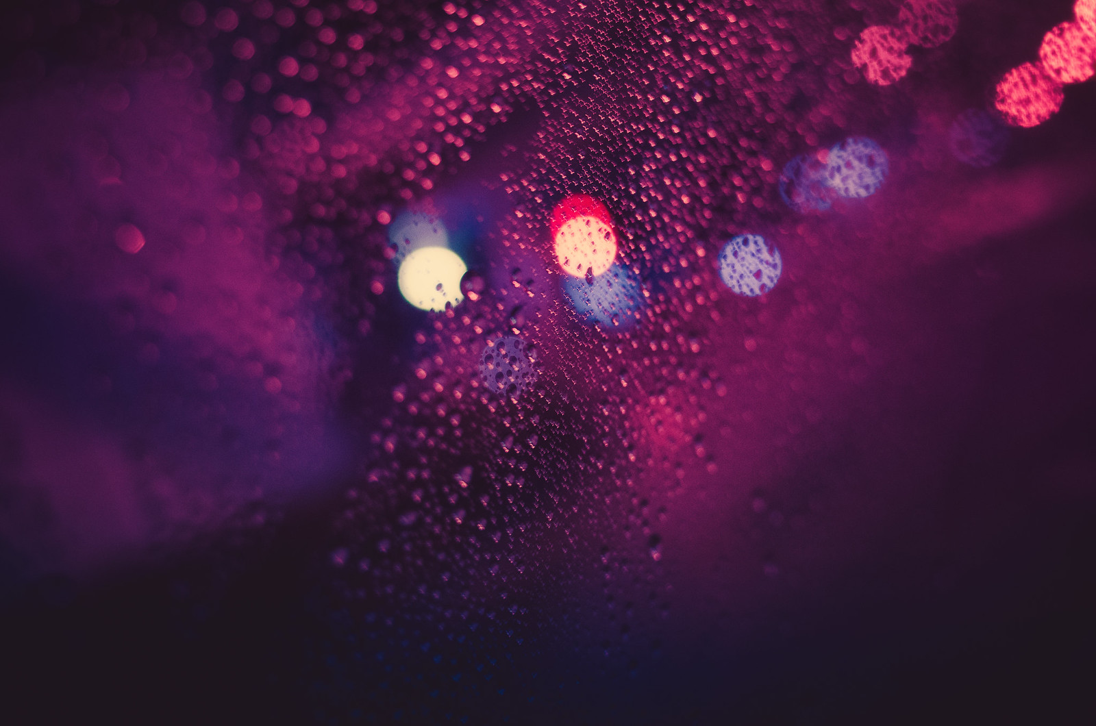 Car window on a rainy day