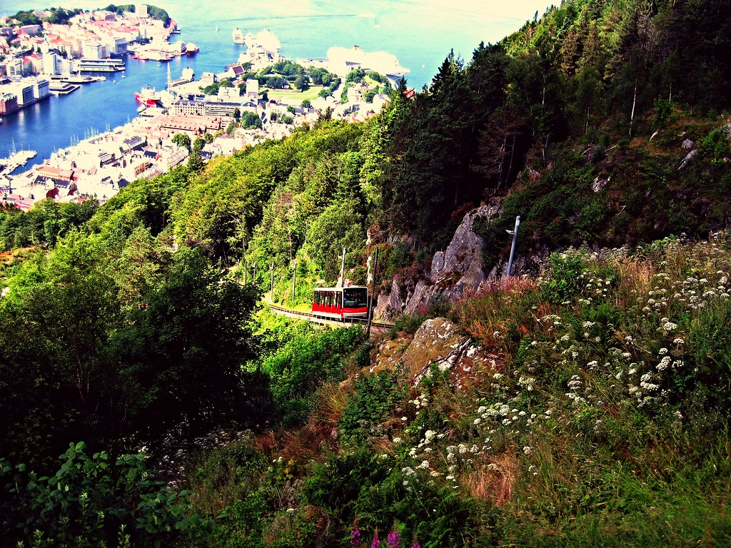 The Fløibanen funicular in Bergen, Norway