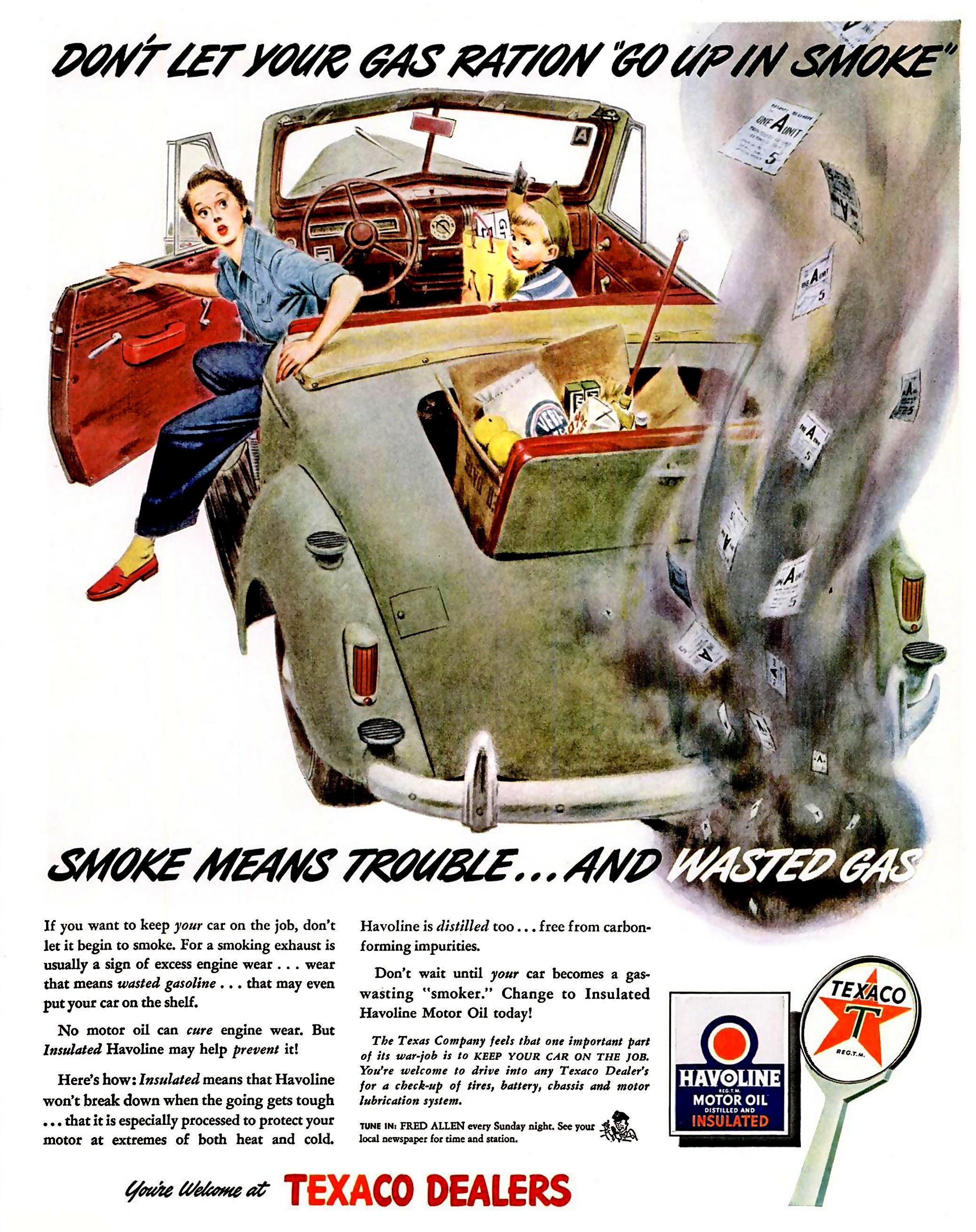 Texaco Havoline Motor Oil - 1943