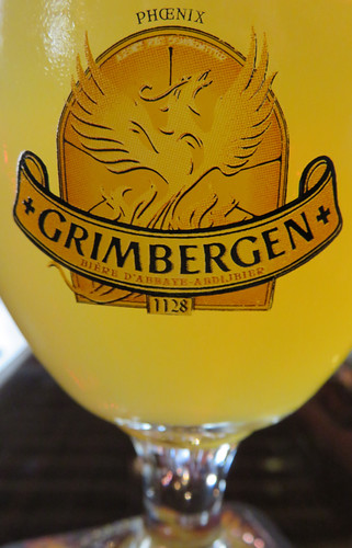 A Grimbergen beer in an Amiens pub in the province of Normandy, France