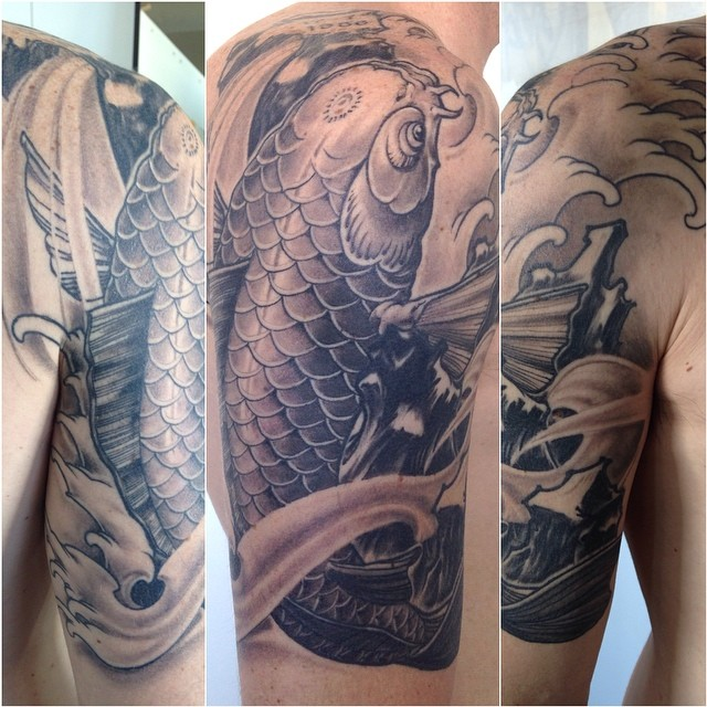 Koi cover up for stephen all healed up greywash tattoo for Washing a new tattoo