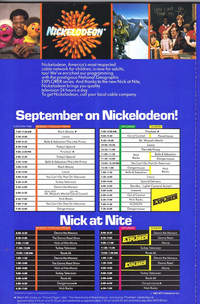 nickelodeon cable network listings 1985