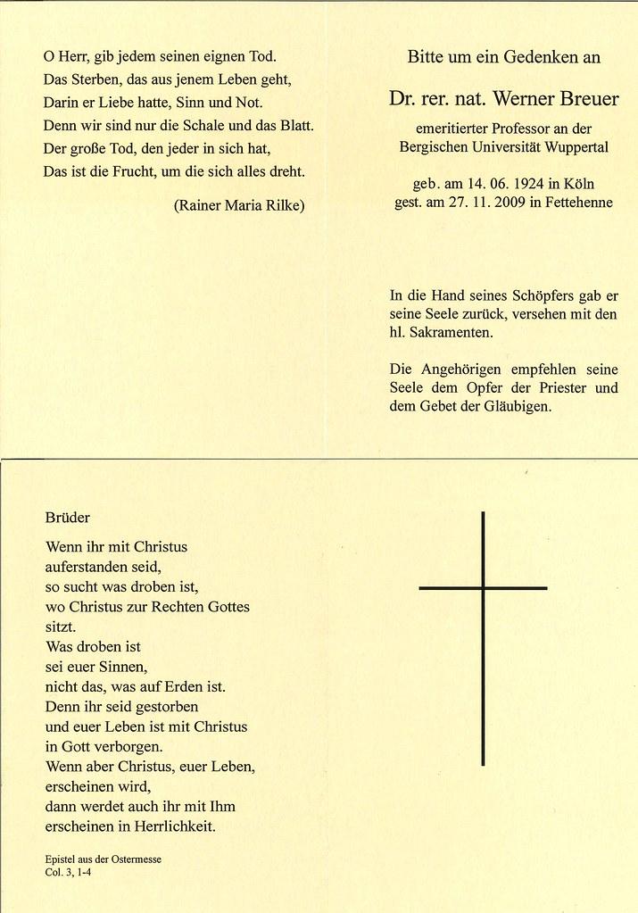 Totenzettel Breuer, Werner † 27.11.2009