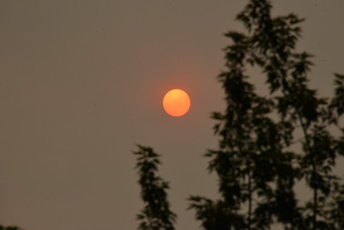 Sun Rise over smoky Vancouver City