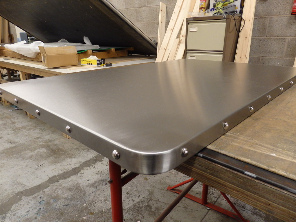 31 Satin Stainless Steel Table Top With Chrome Studs